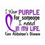 Purple For Someone I Need Alzheimer's Disease Postcard