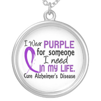 Purple For Someone I Need Alzheimer's Disease Round Pendant Necklace