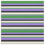 [ Thumbnail: Purple, Forest Green, Tan, White, and Black Lines Fabric ]