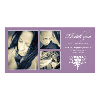 PURPLE FORMAL COLLAGE WEDDING THANK YOU CARD PICTURE CARD