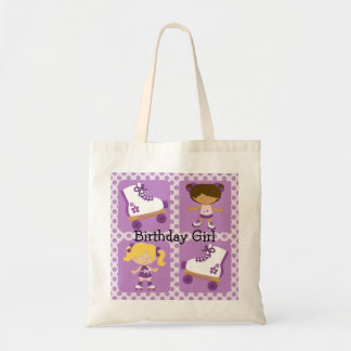 Purple Four Square Rollerskating Birthday Budget Tote Bag