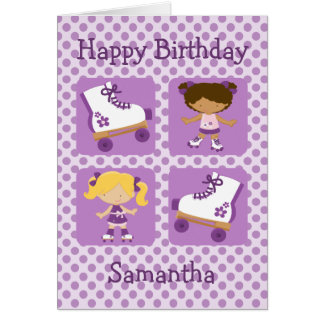 Purple Four Square Rollerskating Birthday Greeting Card