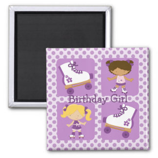 Purple Four Square Rollerskating Birthday Magnet