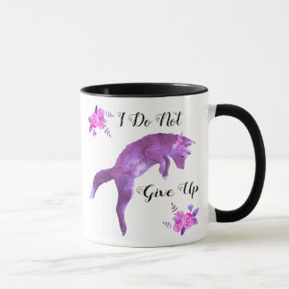 Purple Fox and Pink Roses I Do Not Give Up Mug