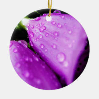 Purple foxglove w/ raindrops ceramic ornament