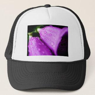 Purple foxglove w/ raindrops trucker hat