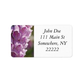 Purple Foxgloves Label