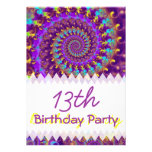 Purple Fractal Birthday Announcements