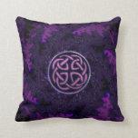 Purple Fractal Celtic Knot Design Throw Pillow
