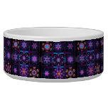Purple Fractal Collage Dog Food Bowls