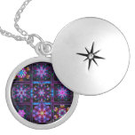 Purple Fractal Collage Necklace