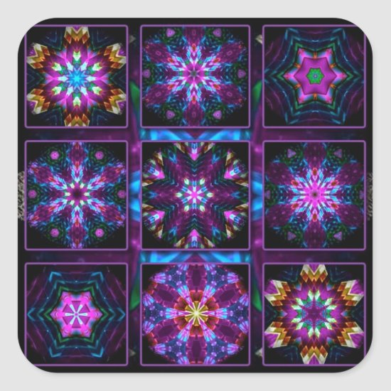 Purple Fractal Collage Square Sticker