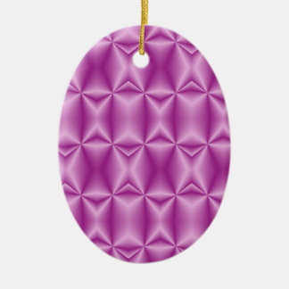 Purple Fractal Design Double-Sided Oval Ceramic Christmas Ornament