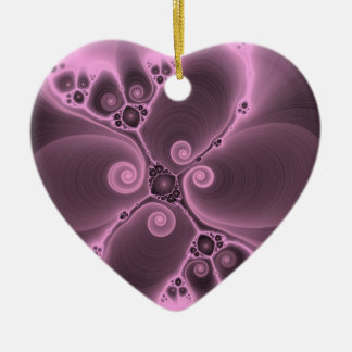 Purple Fractal Flower Delight Customizable Product Double-Sided Heart Ceramic Christmas Ornament
