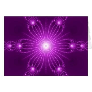 Purple  Fractal Flower with Lights Card