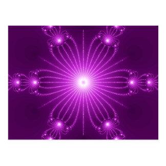 Purple  Fractal Flower with Lights Postcard
