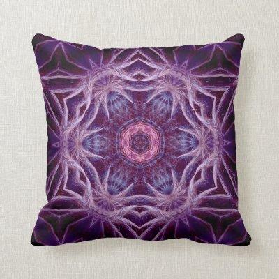 Purple Fractal Hexagon Star American MoJo Pillow