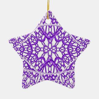 Purple Fractal Lace Star Ornament