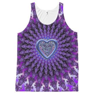 Purple Fractal Mandala Celtic Heart Knot Tank Top