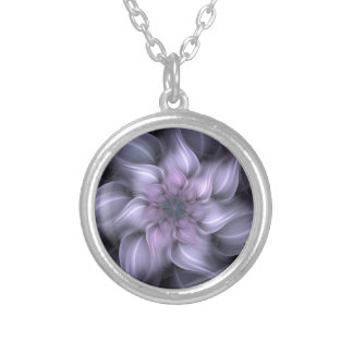 Purple Fractal Silver Plated Necklace
