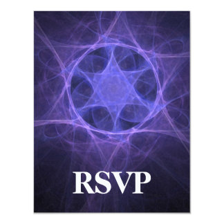 Purple Fractal Star Of David Card
