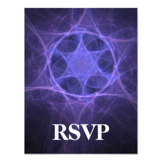 Purple Fractal Star Of David 4.25x5.5 Paper Invitation Card