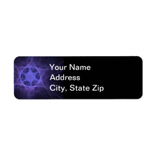 Purple Fractal Star Of David Label
