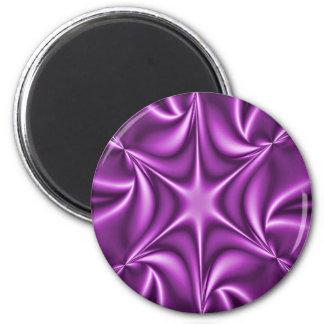 Purple Fractal Starflower 2 Inch Round Magnet
