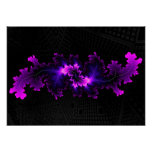 Purple fractal with 3D fractal background Poster