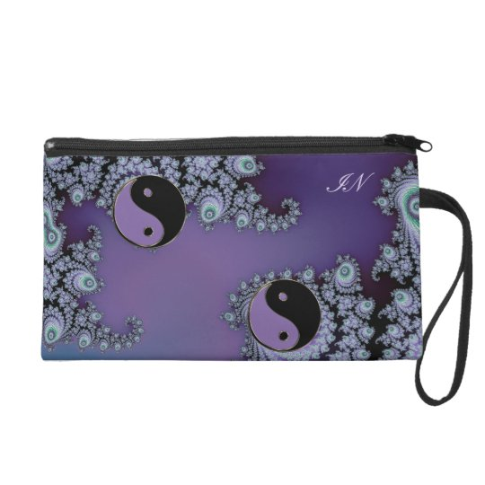 Purple Fractal Yin Yang Design Bags
