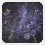 Purple fractals swirls pegatina cuadrada