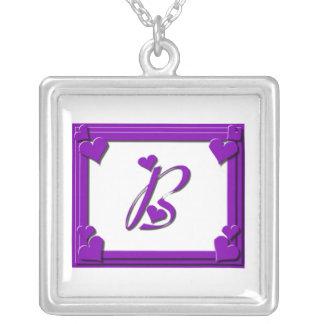 Purple Framed Monogram Letter B Square Pendant Necklace