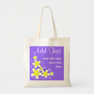 Purple Frangipani Plumeria Flower Budget Tote Bag