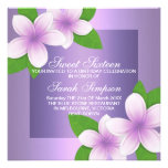 Purple Frangipani Sweet 16 Birthday Invitation