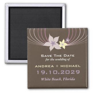 Purple Frangipani Wedding Save The Date Magnet