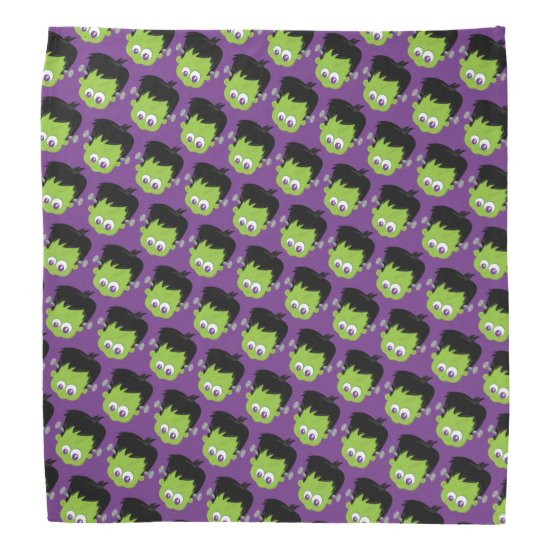 Purple Frankenstein Head Pattern Monster Halloween Bandana