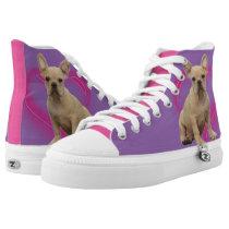 Purple French Bulldog Heart high top tennis shoes