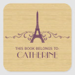 Purple French Flourish Bookplate Stickers