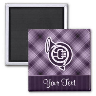 Purple French Horn 2 Inch Square Magnet