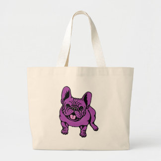 Purple Frenchie Large Tote Bag
