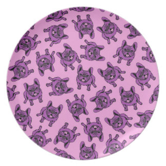 Purple Frenchie Melamine Plate