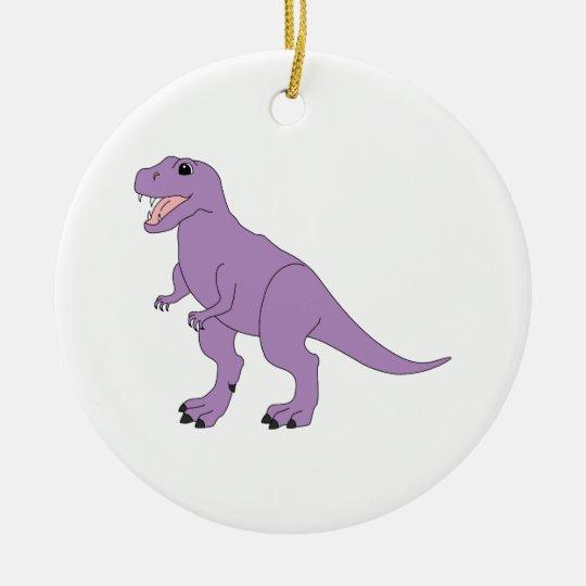 Purple Friendly Dinosaur Ceramic Ornament