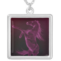 Purple Friesian Horse Rearing Necklace