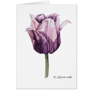 Purple Frilly Tulip Greeting Card