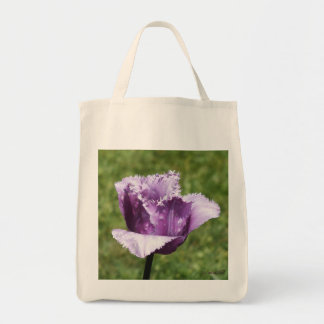 Purple Fringed Tulip Grocery Tote Bag