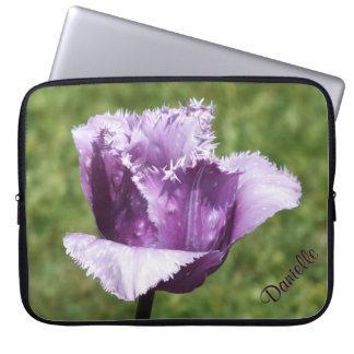 Purple Fringed Tulip Laptop Sleeve *Personalize*
