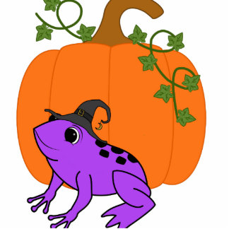 Purple Frog Witch with Halloween Pumpkin Photo Sculpture Button