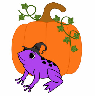Purple Frog Witch with Halloween Pumpkin Photo Sculpture Magnet