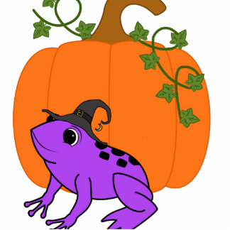 Purple Frog Witch with Halloween Pumpkin Photo Sculpture Ornament