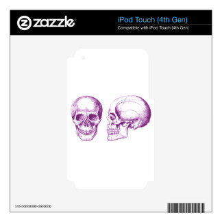 Purple Front Side Human Skull Decal For iPod Touch 4G